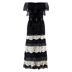 Valentino Silk Strapless Black Tiered Lace Ruffle Dress SIZE - Size US 4