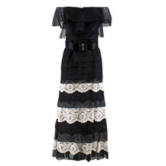 Valentino Silk Strapless Black Tiered Lace Ruffle Dress SIZE UK 8