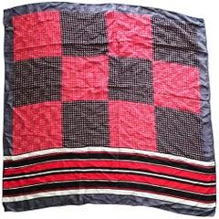 Valentino Silk Tricolor Squares Scarf
