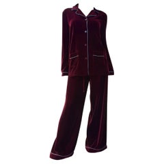 Valentino Silk-trimmed Velvet Pyjama Blouse  Pants Set Suit