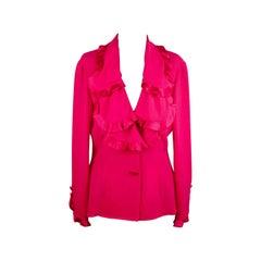Valentino Silky Blazer Jacket with Ruffles