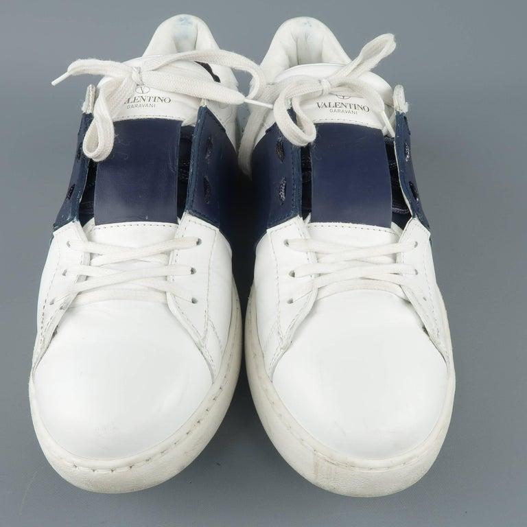 d624b05bd1c948 VALENTINO Größe 12 Block offene Sneakers aus Leder in Weiß und Marine 2