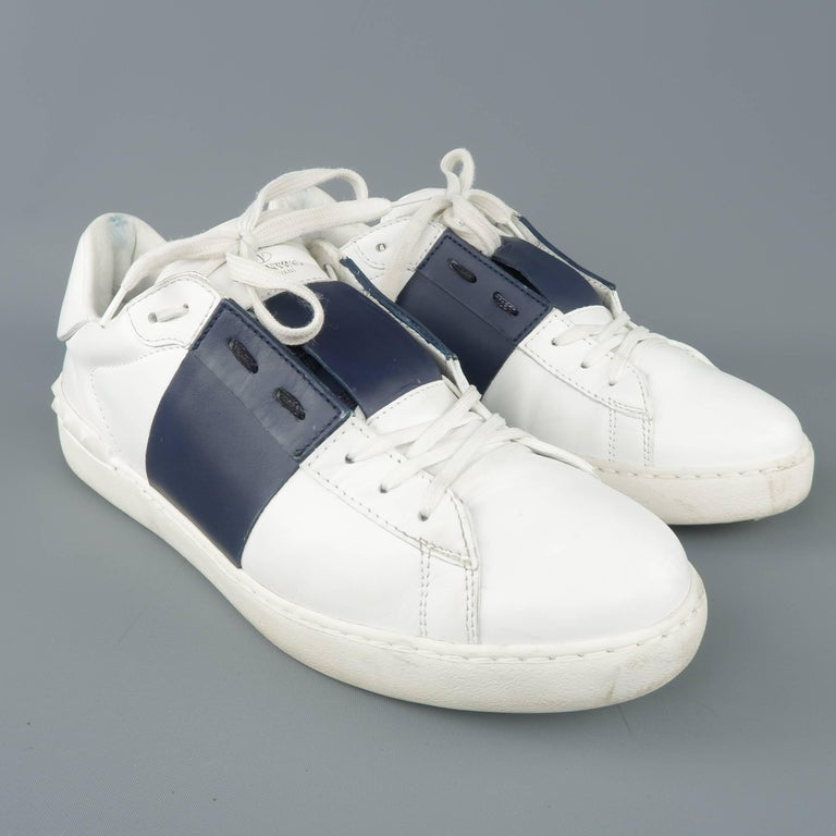 42d80c48fc01 Gray VALENTINO Size 12 White   Navy Color Block Leather Open Sneakers For  Sale