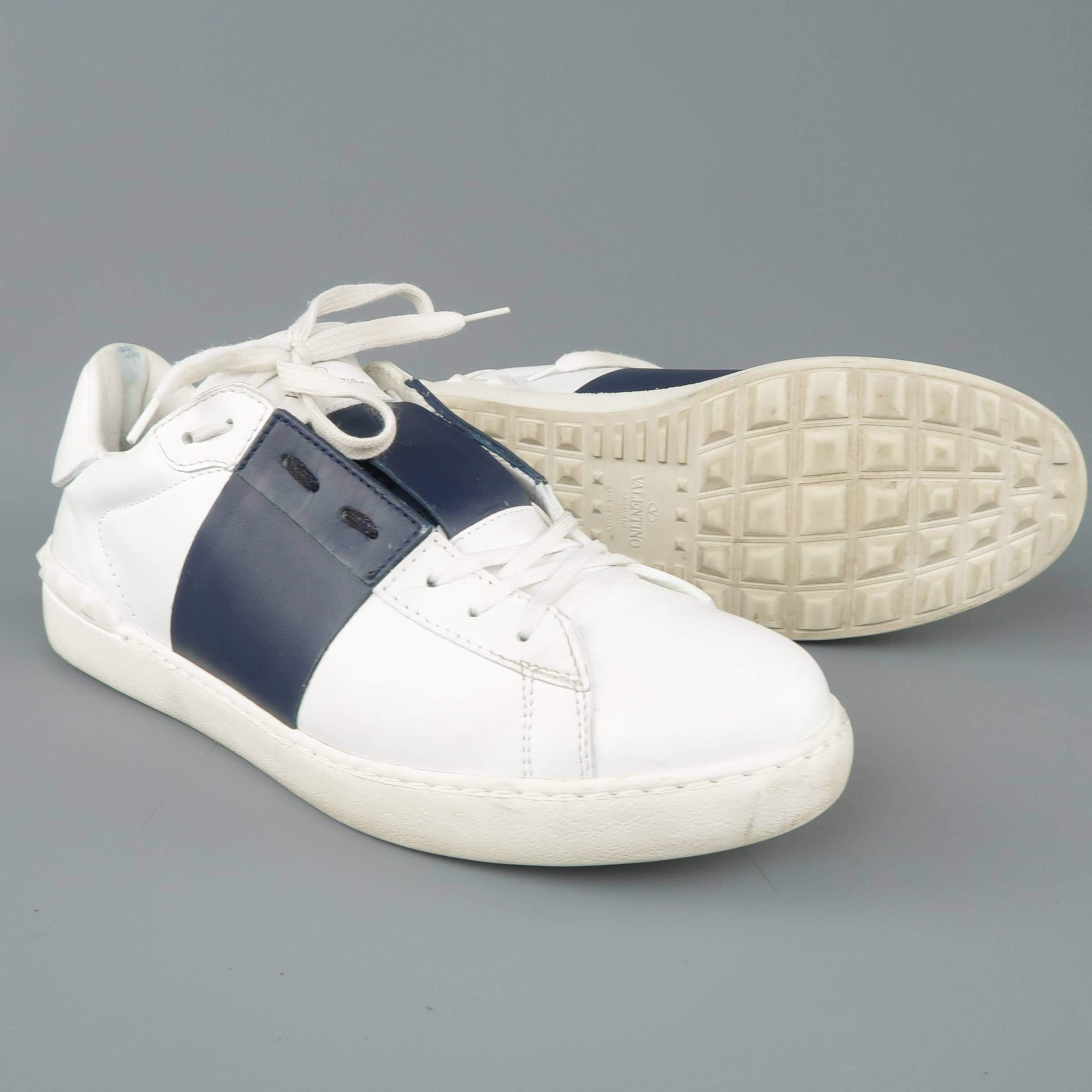 5c5f6a70c869 VALENTINO Size 12 White and Navy Color Block Leather Open Sneakers For Sale  at 1stdibs