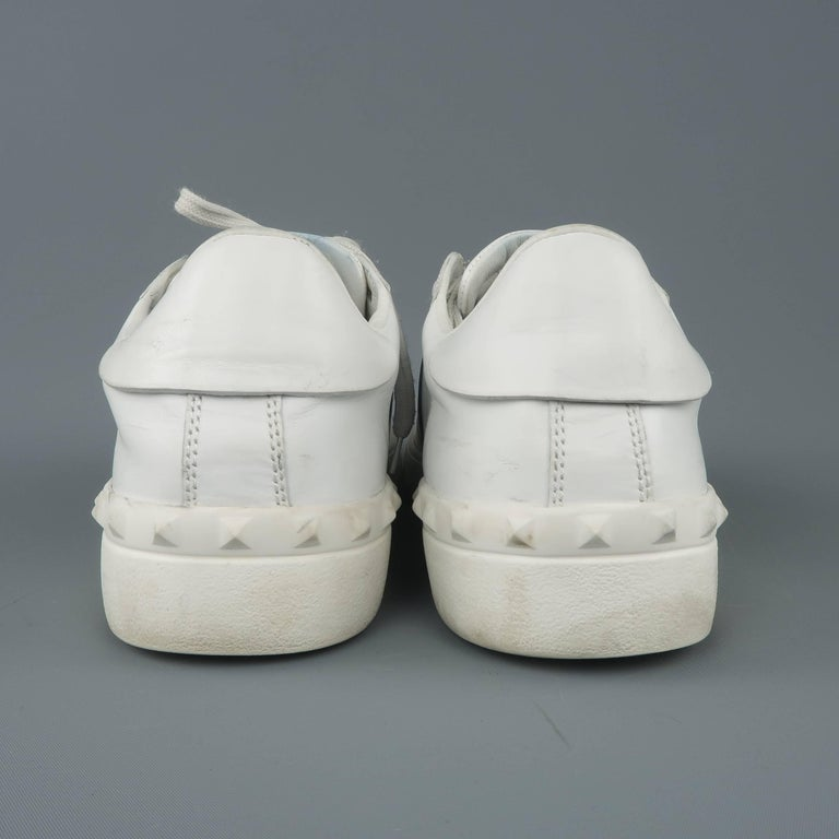 9fe317ec7e37 VALENTINO Size 12 White   Navy Color Block Leather Open Sneakers For Sale 2