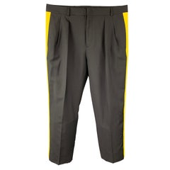 VALENTINO Size 30 Black & Yellow Color Block Wool Pleated Dress Pants