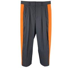VALENTINO Size 30 Navy & Orange Color Block Cotton Pleated Dress Pants