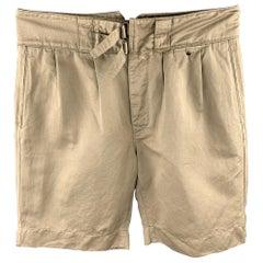 VALENTINO Size 32 Khaki Pleated Cotton Button Fly Shorts