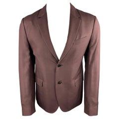 VALENTINO Size 38 Burgundy Silk Notch Lapel Sport Coat