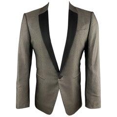 VALENTINO Size 38 Geometric Black & Gold Silk Shawl Collar Sport Coat