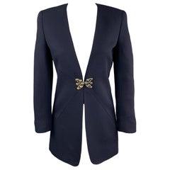 VALENTINO Size 4 Navy Wool Collarless Brooch Closure Jacket