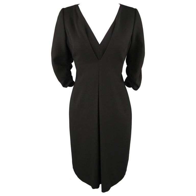Valentino Size 8 Black Wool Draped V Neck 34 Ruched Sleeve Dress