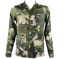 VALENTINO Size M Olive Tropical Camouflage Print Silk Button Up Shirt