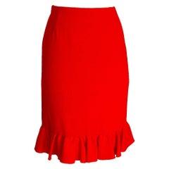 Valentino Skirt Signature Red Flirty Ruffle Hem and Rear Detail 8 New
