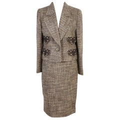 Valentino Skirt Suit Dress Brown Wool Boucle for Evening New With Tags 1990s