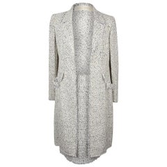 Valentino Skirt Suit Fine Black White Tweed Long Jacket Fringed Edge 8