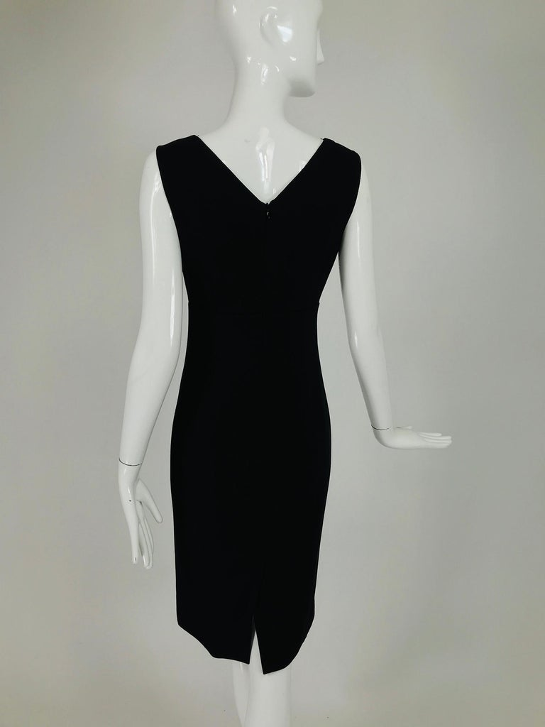 Valentino Sleeveless Black Sheath with Black Back Décolletage. For Sale 3
