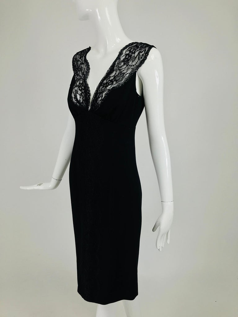 Valentino Sleeveless Black Sheath with Black Back Décolletage. For Sale 5