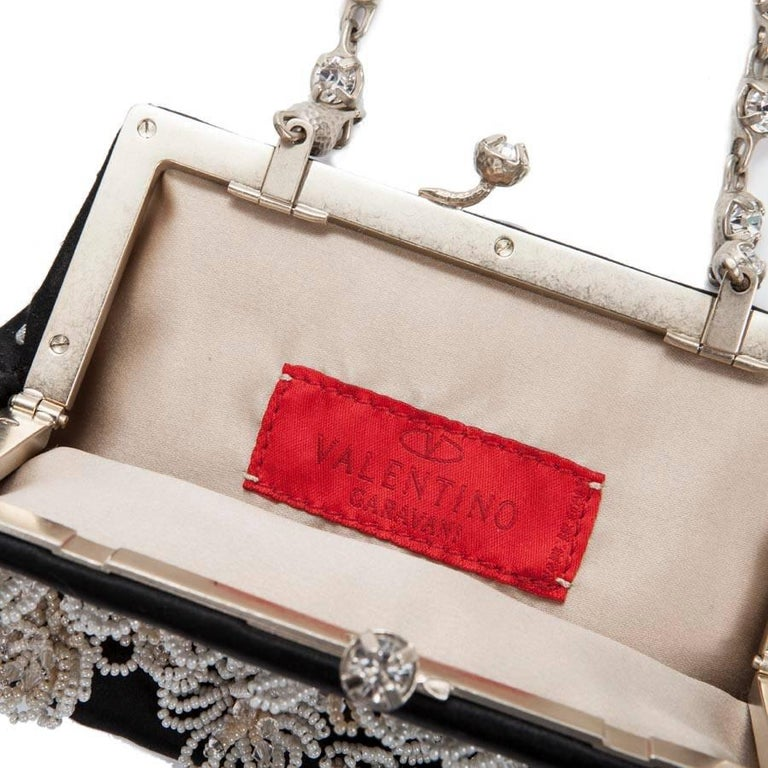 Valentino Small Evening Bag in Black Silk Satin with Pearls and Brilliants For Sale 1