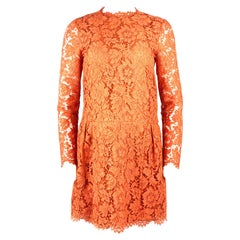 VALENTINO Spa Orange Floral Lace Long Sleeves Mini Dress Size 6