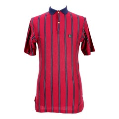 Valentino Sport Blue Red Cotton Pinstripe Polo Shirt 1980s
