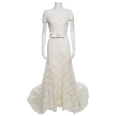 Valentino Sposa Cream Floral Beaded Lace Hesperides Sheath Wedding Gown M