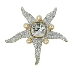 Valentino Starfish Crystal and Pearl Brooch New Never worn-1990s