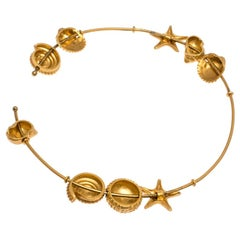 Valentino Starfish & Seashell Gold Tone Station Choker Necklace
