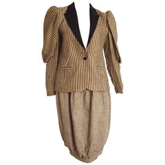VALENTINO striped jacket and egg shape skirt, linen and silk suit - Unworn