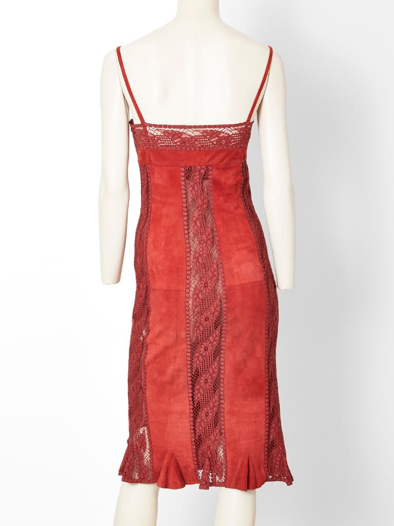 Valentino, red, slip dress, having a lace bra, and a body made of vertical panels of  suede and lace. Hem  of the dress has a short flounce.