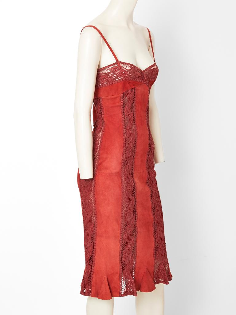 Pink Valentino Suede and Lace Slip Dress For Sale