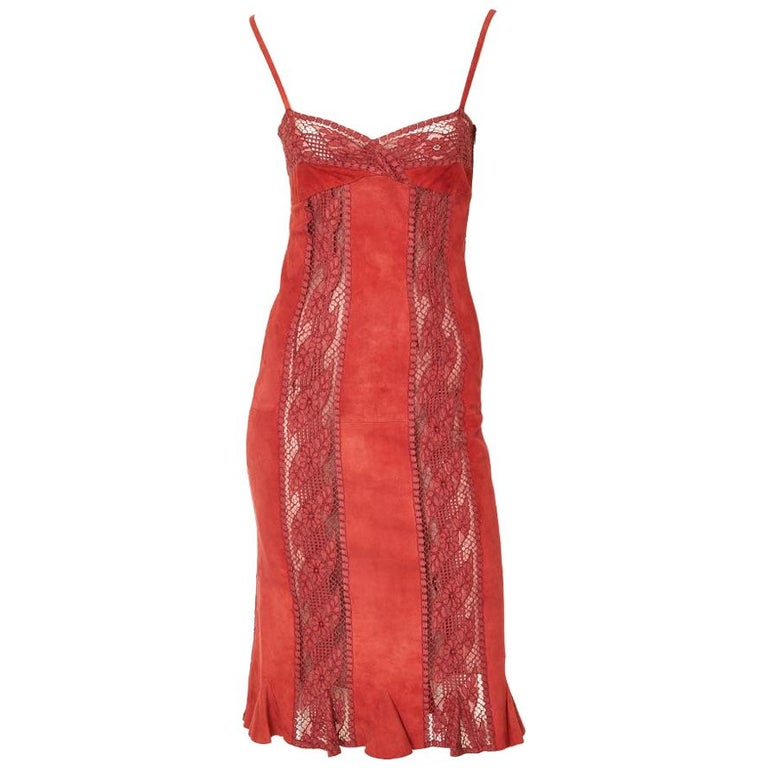 Valentino Suede and Lace Slip Dress For Sale