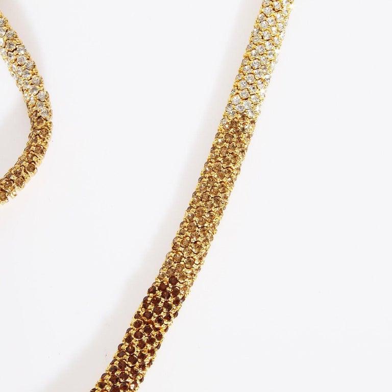 "Retro Valentino Swarovski Crystal Link ""Snake"" necklace C. 1970s For Sale"