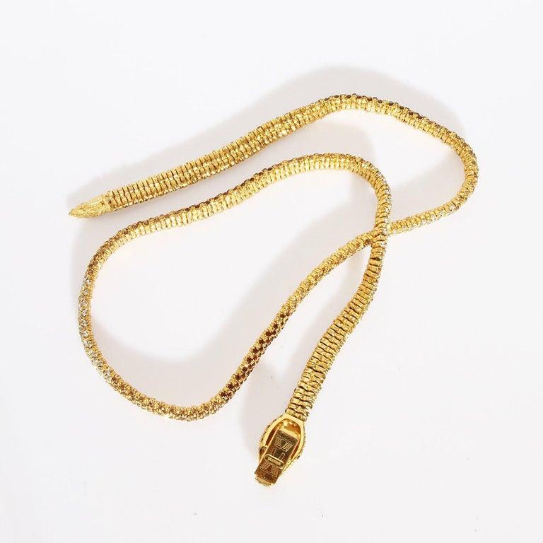 "Round Cut Valentino Swarovski Crystal Link ""Snake"" necklace C. 1970s For Sale"