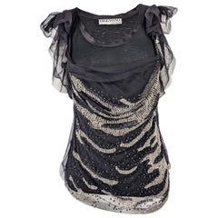Valentino T Shirt Couture Beaded Embellished Mesh Top