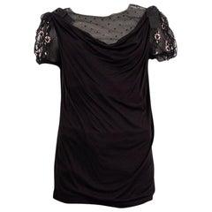 VALENTINO T-SHIRT COUTURE black viscose EMBELLISHED MESH Shirt 8 M