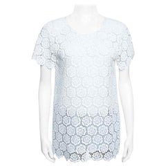 Valentino T-Shirt Couture Off White Beaded Floral Lace Top M