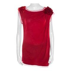 Valentino T-Shirt Couture Red Jersey Floral Applique Detail Lace Trim Top L