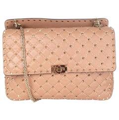 VALENTINO tan brown quilted leather ROCKSTUD SPIKE MEDIUM Shoulder Bag