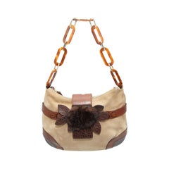Valentino Tan & Brown Suede Fur-Accented Shoulder Bag
