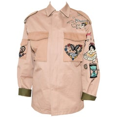 Valentino Tan Canvas Military Inspired Jacket W/ Beaded Embroidered Appliques