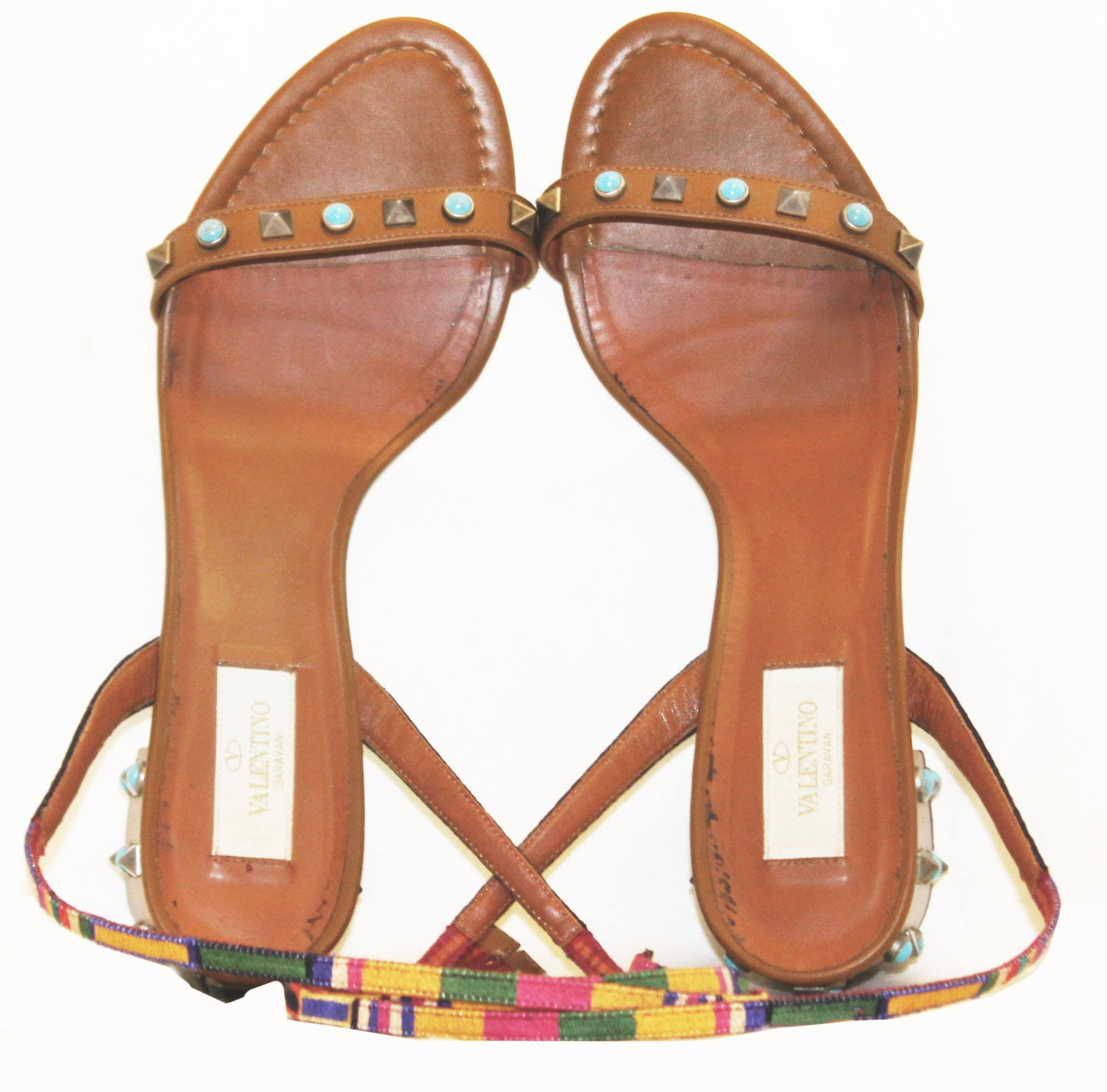 09a4502f83 Valentino Tan Chunky Heel with Rock Studs and Faux Turquoise Round Studs  Shoes For Sale at 1stdibs