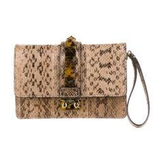 Valentino Tan Cognac Snakeskin Exotic Evening Wristlet Clutch Flap Bag