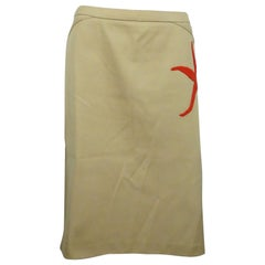 Valentino Tan Cotton Skirt W/ Red Beaded Starfish - 42