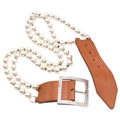 Valentino Tan Leather & Faux Pearl Crystal Buckle Belt M