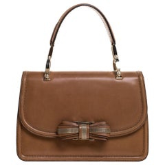 Valentino Tan Leather Flap Top Handle Bag