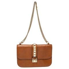 Valentino Tan Leather Medium Rockstud Glam Lock Flap Bag