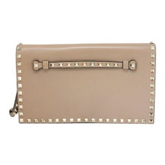 Valentino Tan Leather Rockstud Flap Clutch Purse Bag