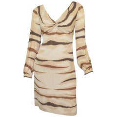 Valentino Tan Silk Animal Print Dress
