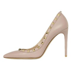 Valentino Taupe Leather Point Toe Rockstud Heels sz 40 rt. $875